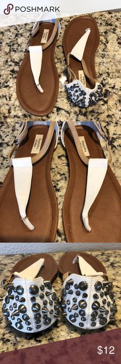 89454e5d83e Simply Vera (Vera Wang) Sandals Adorable White and tan Vera Wang sandals  with silver spikes on heel. Good used condition. Simply Vera Vera Wang Shoes  ...