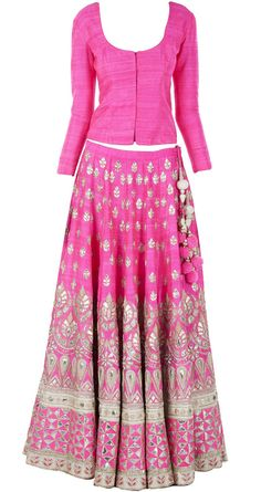 Pink gota pati embroidered lehenga with raw silk bandi available only at Pernia's Pop-Up Shop.