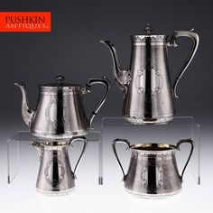 ANTIQUE 19thC VICTORIAN SOLID SILVER 4PS TEA & COFFEE SET, BARNARD BROS c.1868