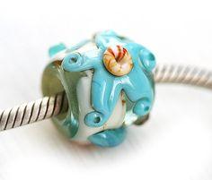 Starfish Large hole bead Beach blue handmade lampwork by MayaHoney,