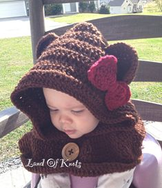 Crochet bear cowl, hooded scarf, bear scarf, bear cowl, hooded cowl with ears, brown with bow and wood button for baby, child, toddler, adul by LandOfKnots on Etsy