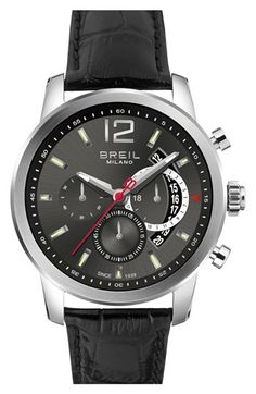 Men's Breil 'Miglia' Chronograph Leather Strap Watch, 44mm