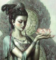 Kuan Yin Quan Yin Kwan Yin Chinese Goddess Of Compassion - Quan Yin Kuan Yin Or Kwan Yin Buddhist Goddess Of Compassion Scholars Are Still Debating The Origin Of Devotion To The Female Bodhisattva Kuan Yin Also Know As Quan Shi Yin And Kwan Yin Quan Mean Buddha Kunst, Buddha Art, Goddess Art, Goddess Of Love, Guanyin, Hindus, Perfume Oils, Gods And Goddesses, Virgin Mary
