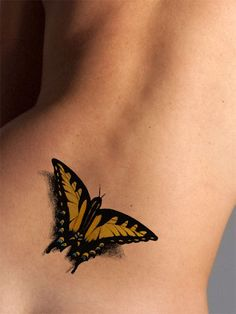 This delicate butterfly 3D tattoo appears to have just landed on your skin. Available as both a black and a color tattoo. The butterfly tattoo represents faith and acceptance, or transformation. Wear