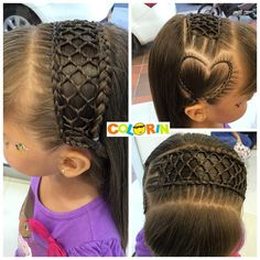 I like the headband style, not so much the heart Short Box Braids Hairstyles, Try On Hairstyles, Kids Braided Hairstyles, Creative Hairstyles, Little Girl Hairstyles, Crazy Hair Days, Twist Ponytail, Girl Haircuts, Toddler Hair