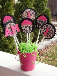 Set of 6 Table Decorations - Hot Pink and Leopard Print Cupcake Theme - by EKC. $9.00, via Etsy.