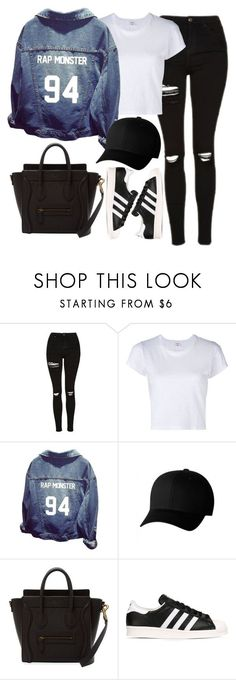 """Untitled #1657"" by mihai-theodora ❤ liked on Polyvore featuring Topshop, RE/DONE, Flexfit and adidas Originals"