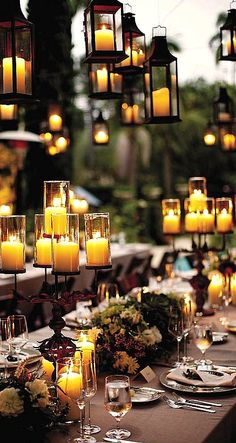 Candle lighting for an evening outdoor party