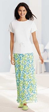 Lime modest floral skirt outfit for summer.  Perfect with lime bunny slippers. Chadwicks c. 1997