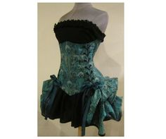 PEACOCK FEATHERS Custom Size Peacock Feather Under Bust Corset and Add-A-Bustle Bustle - by LoriAnn Costume Designs. $249.99, via Etsy.