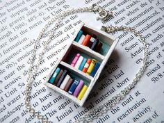 Teeny tiny bookshelf necklace.