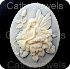 Pixie Fairy Cameos by Cathysjewels on Etsy (Craft Supplies & Tools, Jewelry & Beading Supplies, Beads, cabochon, cameo, fairy, ivory, 40x30, 30x40, scrapbooking, button, unset cameo, loose cameo, black, faerie, elf)