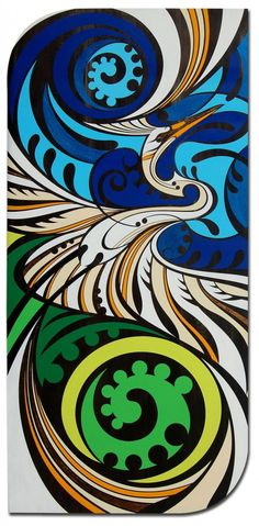 Shane Hansen is a Maori Artist based in Aotearoa New Zealand. He creates original paintings, limited edition prints and a range of objects and products. His artwork is mostly themed around native birds, his heritage and connection to the land. Arte Tribal, Tribal Art, Kunst Der Aborigines, Polynesian Art, Maori Designs, New Zealand Art, Nz Art, Maori Art, Kiwiana