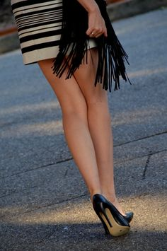 black and white stripes outfit