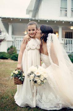Flower girl dress ..Cedar... Natural Cotton Flower Girl Dress 2T-5. $79.00, via Etsy.
