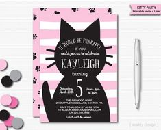 Kitty Invitation Cat Invitation Kitten Invitation Kitty Birthday Invitation…