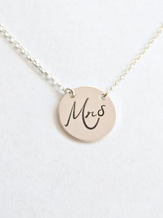 Mrs. Necklace Name Disc necklace Gift for by vintagestampjewels