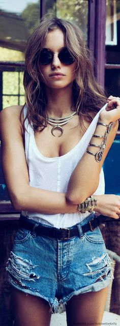 Boho Chic Street Style Fashion: jean cut off shorts, white tank top with modern hippie silver necklace, gypsy stacked bracelets. For the BEST Bohemian clothing & jewelry trends for 2014 FOLLOW http://www.pinterest.com/happygolicky/the-best-boho-chic-fashion-bohemian-jewelry-gypsy-/