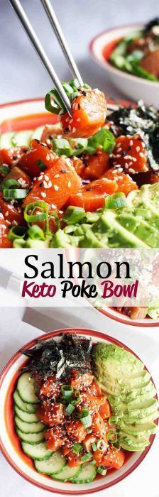 Our Poke Bowl Recipe featuring salmon delicate and falvorful, packed with veggies and fresh, wild caught salmon!