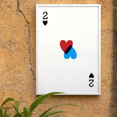 2 of hearts. Valentine's Day. Screenprint 8.3 x 11.7 (A4)  by coniLab on etsy