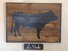 "La Vache (""The Cow"") Painting / Wall Hanging - Farmhouse Industrial Decor Vintage Inspired by MiddletonMercantile on Etsy"