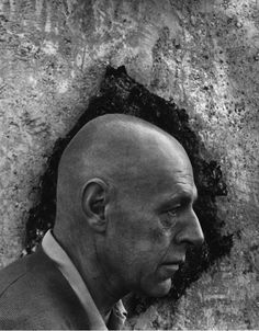 """Arnold Newman """"Jean Dubuffet"""" - Love the composition and framing of the profile within the dark area."""