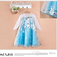 Frozen Fever Elsa Anna Princess Blue Party Children Clothing The Gradient  Sleeve Dress Baby Kids Cosplay Clothing from Bbox 3a9df06150