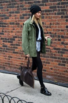 #offduty parka chic. Candice in NYC. #CandiceSwanepoel