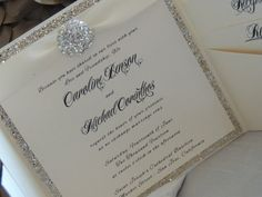 Glitter / Brooch Pocket Wedding Invitation by MagicBeyondMidnight, $9.25