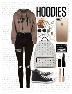 """""""Untitled #7"""" by jenniferhale2004 on Polyvore featuring Topshop, Converse, Maybelline, Casetify, The Perfumer's Story by Azzi, MCM, Illamasqua and Hoodies"""