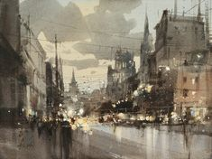 © Chien Chung Wei The Moscow Nocturne hr x 56 cm Watercolor City, Watercolor Sketch, Watercolor Artists, Watercolor Techniques, Watercolor Landscape, Artist Painting, Watercolour Painting, Watercolours, Urban Landscape