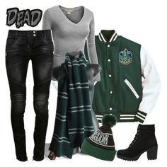 """""""Slytherin"""" by ironraven281 ❤ liked on Polyvore featuring J.TOMSON, Vagabond and Balmain"""