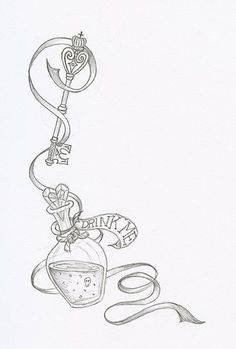 Alice In Wonderland tattoo idea ink,Key tattoos Drink Me by PixiRivets on DeviantArt Trendy Tattoos, New Tattoos, Body Art Tattoos, Sleeve Tattoos, Zodiac Tattoos, Tattoo Sleeves, Heart Tattoos, Feminine Tattoos, Skull Tattoos