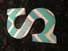 Cute DIY blue chevron wooden letters for my roommates and I's dorm at UF