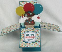 Cupcakes and Balloons in a Box by jreks - Cards and Paper Crafts at Splitcoaststampers Card In A Box, Pop Up Box Cards, 3d Cards, Cool Cards, Card Boxes, Fancy Fold Cards, Folded Cards, Cricut Cards, Stampin Up Cards