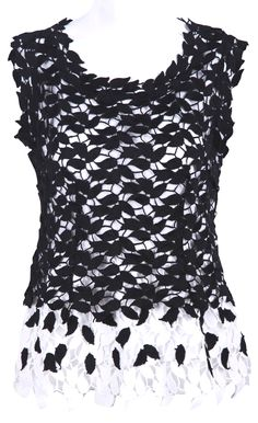 Black and White Sleeveless Leaf Lace Blouse