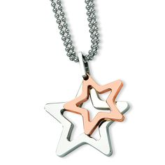 Stainless Steel Rose IP-plated Stars Pendant 22in Necklace SRN634
