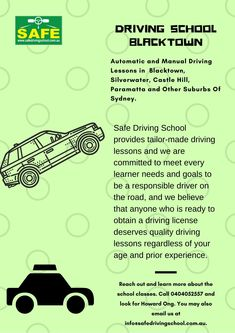 Find affordable driving schools & cheap driving lessons in Blacktown. Safe Driving School provides high-quality cheap driving lessons in Blacktown. Free Driving Lessons, Automatic Driving Lessons, Driving School, Self Driving, Driving Test, Drivers Permit, Safe Schools, Driving Instructor, Teaching Methods