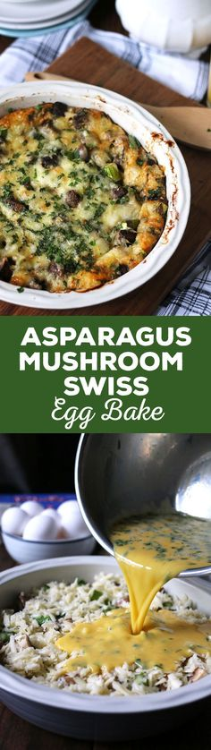 This asparagus mushroom swiss egg bake is perfect for brunch or breakfast! It can be prepared overnight and most of the cooking is done in the oven. Consider making this easy recipe your go to Mother's Day recipe! | honeyandbirch.com paleo crockpot casserole