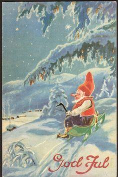 Julekort Paul Lillo-Stenberg. Nisse på kjelke. Utg Oppi. Stemplet 1941