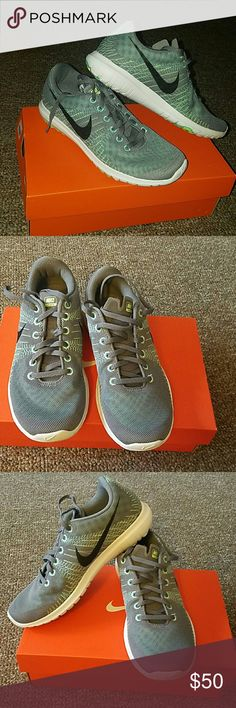 Nike Flex Fury Cool grey/green. Worn a couple of times. With box. Nike Shoes Athletic Shoes