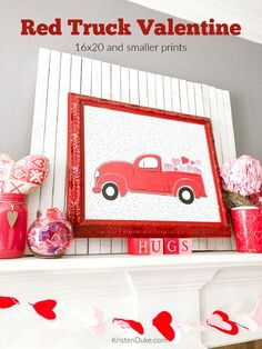 If you love Red Truck holiday decor, check out this fun Red Truck Holiday Print and Red Truck Valentines. Both Valentine printables are free! Valentine Day Crafts, Love Valentines, Valentine Decorations, Valentine Ideas, Free Printable Cards, Valentine's Day Printables, Inspirational Gifts, Winter Holiday, Holiday Fun