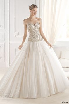 la sposa bridal 2015 wedding dress strapless sweetheart neckline embellished bodice a line wedding dress eriadu
