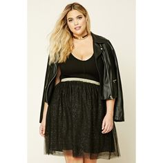 535b4c267ae Forever21 Plus Size Metallic-Flecked Skirt ( 13) ❤ liked on Polyvore  featuring plus