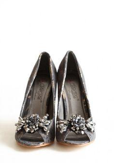 gray lace heel