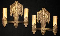 Vintage Pair of Art Deco Wall Sconces by davincisattic