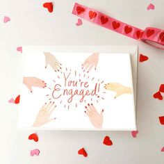 You're Engaged Illustrated Greeting Card, Engagement Ring Hand Drawn Cards, Cute Hands Celebration Card, Engagement Cards For Friends by ChloeFaeDesigns on Etsy