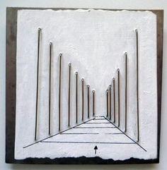 "Renzo Pasquale brooch ""street"" porcelain, titanium, white gold"