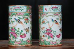 """5.5""""H Sold $240 ebay...chipped top...FINE PAIR OF CHINESE 19TH CENTURY CANTON FAMILLE ROSE BRUSH POTS"""