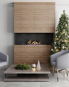 Wood Slat Wall, Wooden Slats, Wood Paneling, Wooden Wall Cladding, Wooden Accent Wall, Western Red Cedar Cladding, Fireplace Wall, Fireplace Showroom, Fireplace Feature Wall